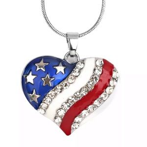 Jewelry - Crystal Flag Heart Pendant Necklace!